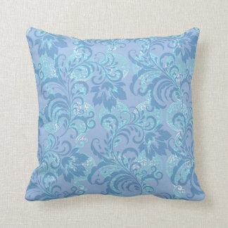 Blue Lavender Floral Pattern Throw Pillow