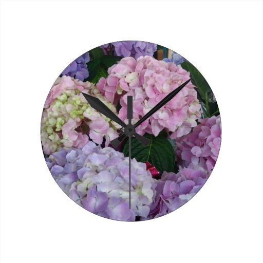 Blue Lavender Hydrangeas Round Wall Clock