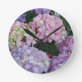 Blue Lavender Hydrangeas Round Wallclocks