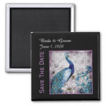 Blue Lavender Peacock Watercolor Save The Date 2 Inch Square Magnet