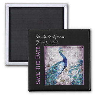 Blue Lavender Peacock Watercolor Save The Date Magnet