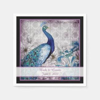 Blue Lavender Peacock Watercolor Wedding Napkins