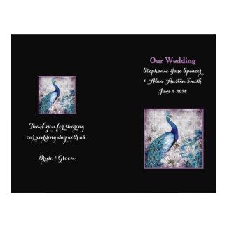 Blue Lavender Peacock Wedding Program Flyers