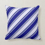 [ Thumbnail: Blue, Lavender & Slate Gray Colored Pattern Pillow ]