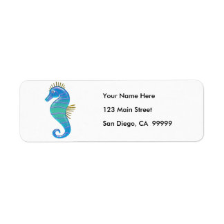 Blue & Lavender Stained Glass Seahorse Return Address Label