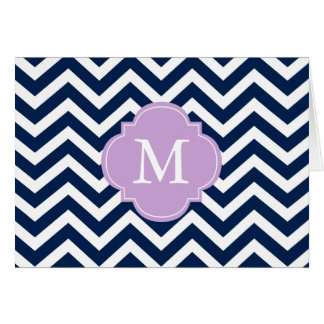 Blue Lavender Zigzags Pattern Monogram Greeting Cards