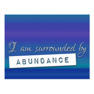 Blue Law of Attraction Abundance Affirmation Postcard