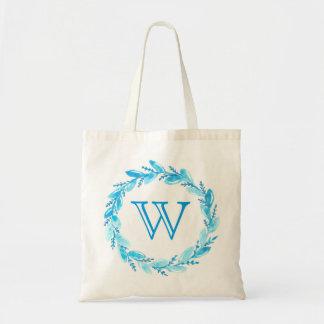 Blue Leaf Floral Monogram Tote Bag