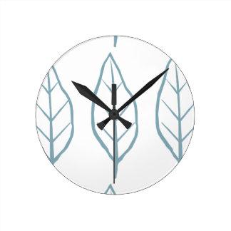 Blue Leaf Round Clock