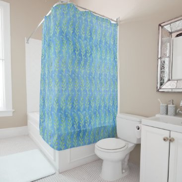 Beach Themed Blue Leaf Swirl Beach Cottage Striped Watercolor Shower Curtain