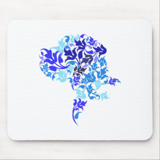Blue leafs Great Dane Mouse Pad