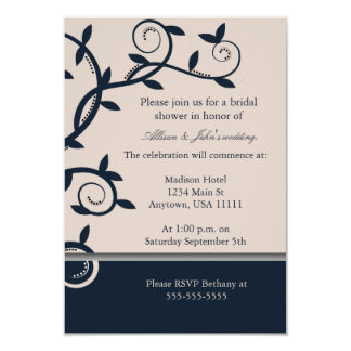 "Blue Leafy Vine Bridal Shower Invitation 3.5"" X 5"" Invitation Card"