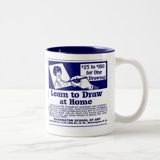 "Blue ""LEARN TO DRAW"" Coffee Mug"