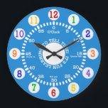 """Blue Learning to Tell Time Large Clock<br><div class=""""desc"""">Fun design for this wall clock for children as they learn to tell time.</div>"""