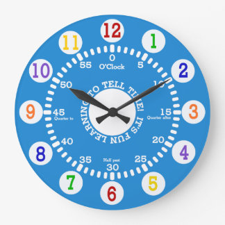 Blue Learning to Tell Time Large Clock