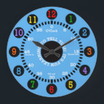 "Blue Learning to Tell Time Large Clock<br><div class=""desc"">Fun design for this wall clock for children as they learn to tell time.</div>"