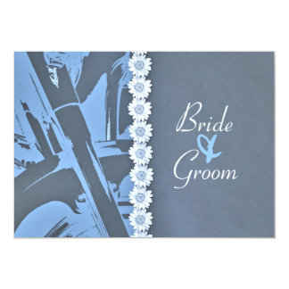 "Blue Leather and Daisies Biker Wedding Invitation 5"" X 7"" Invitation Card"