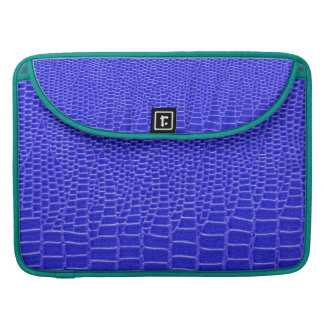 Blue leather animal skin, peacock turquoise MacBook pro sleeve