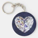 Blue Leather Diamond Heart Keychain