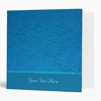 Blue Leather -Embossed Floral Design Binder