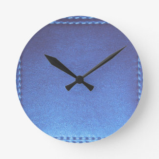Blue Leather finish Template DIY add TEXT IMAGE 99 Round Clocks