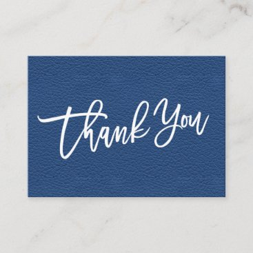 Blue Leather hand written Thank you customer Enclosure Card