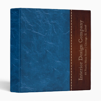 Blue leather look 3 ring binder
