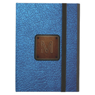 Blue leather look brown tag iPad air covers