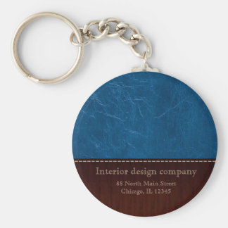Blue leather look keychain