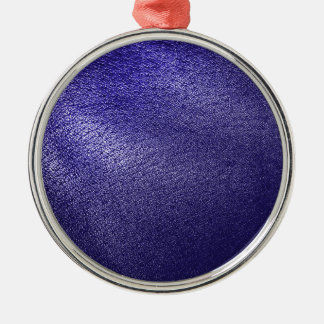 Blue Leather Look Metal Ornament