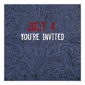 Blue Leather Look Patriotic Invitation