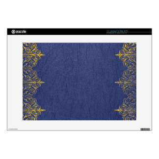 """Blue Leather Texture Gold Frame Accent Decal For 15"""" Laptop"""