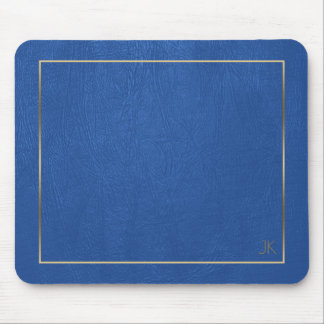 Blue Leather Texture Gold Frame-Custom Monogram Mouse Pad