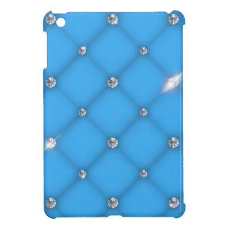 Blue leather upholstery with diamonds iPad mini covers