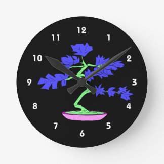 blue leaved green trunked bonsai tree graphic.png round clock