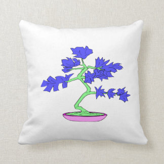 blue leaved green trunked bonsai tree graphic.png throw pillow