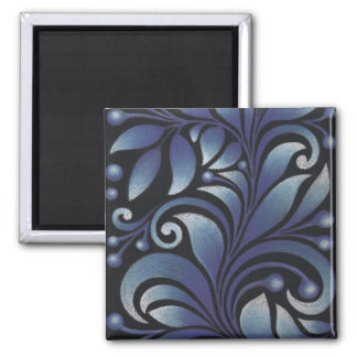 blue leaves 2 inch square magnet