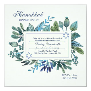 Blue Leaves and Berries Hanukkah Party Card at Zazzle