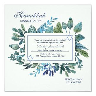 Blue Leaves and Berries Hanukkah Party Card