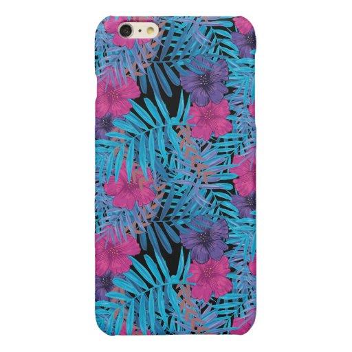 BLUE LEAVES AND FLOWERS PATTERN GLOSSY iPhone 6 PLUS CASE