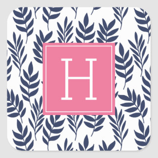 Blue Leaves and Pink Monogram Square Sticker