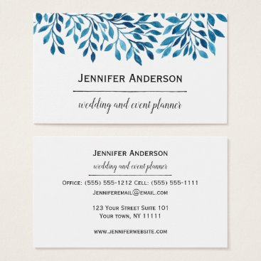 Wedding Themed Blue Leaves Business Card