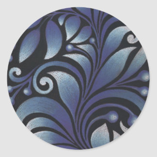blue leaves classic round sticker