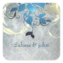 blue leaves envelope seal