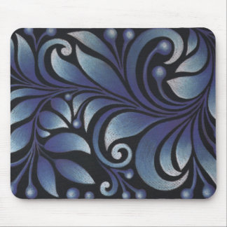 blue leaves mouse pad