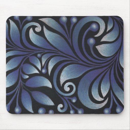 blue leaves mouse mats