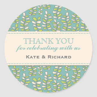 Blue Leaves Pattern Wedding Thank You Stickers