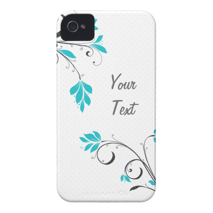 Blue Leaves - Personalize iPhone 4 Case