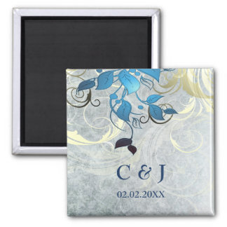 blue leaves save the date magnets