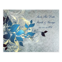 blue leaves save the date postcard